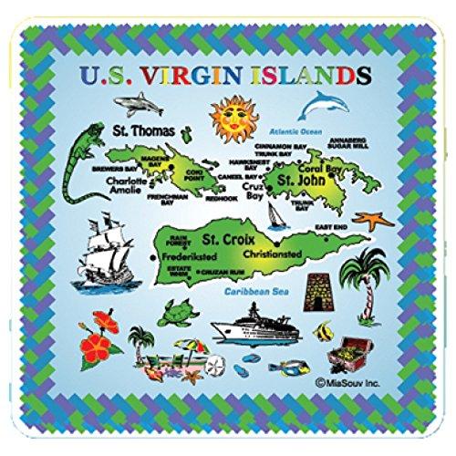 6 x 6 Map of The US Virgin Islands Kitchen Trivet Holder Ceramic Hot Plate Tile