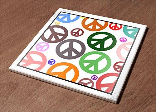 Ceramic Hot Plate kitchen Trivet Holder peace pattern mix color decor gift