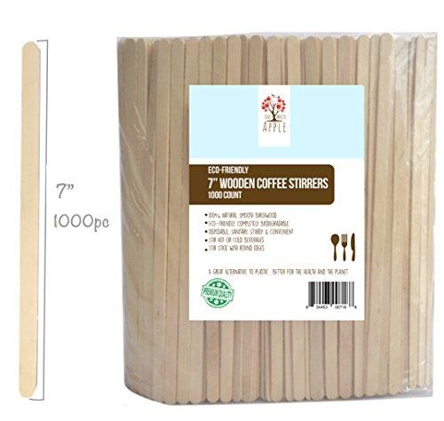 "Wood Coffee Beverage Stirrers Coffee Stir Sticks 7"" 1000 Count EcoFriendly Completely Biodegradable Coffee Stirrers For Hot Cold Beverages as Coffee Tea Alternative to Plastic Stirrer"