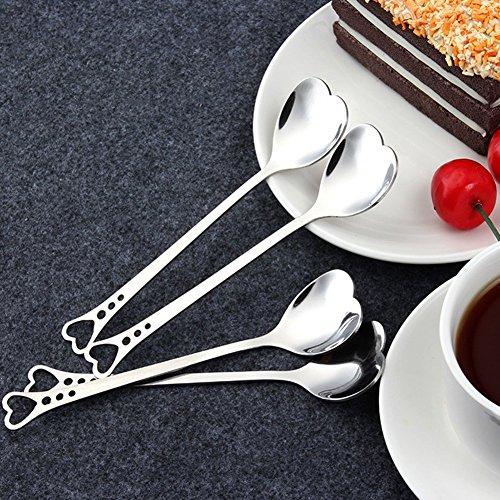 Stainless Steel Love Heart Shape Coffee Spoons Creative Milk Sugar Ice Cream Spoons Tea spoons Mixing Stirring Spoons Set of 4