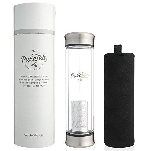 PureTea Tea Infuser Bottle wSleeve - Tea Infusers for Loose Tea - NEW Improved Loose Leaf Tea Cup  Stainless Steel Strainer Filter - Perfect Glass Travel Water Mug - 14oz Infuser wSleeve