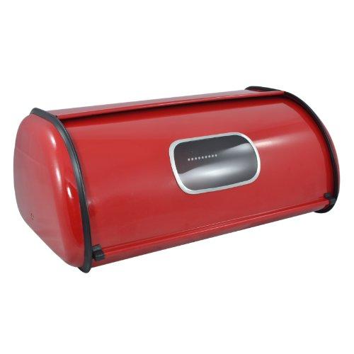 Modern Red Metal Clear Front Window Rolltop 2 Loaf Bread Box / Storage Bin - Mygift®