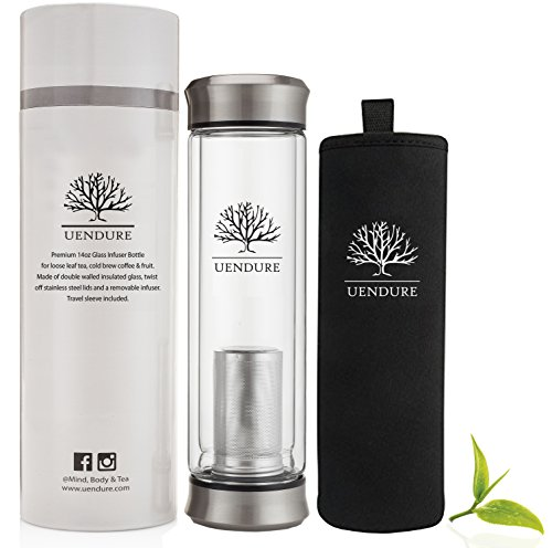 The Original Tea Infuser Bottle by UEndure – NEW Improved V2 Design – Loose Leaf Tea Cup  Stainless Steel Filter - Perfect Glass Travel Mug  Insulating Sleeve - 14oz Teapot for One