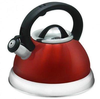 Stainless Steel Whistling Tea Kettle - 28 Liter Encapsulated Tea Maker Pot Red