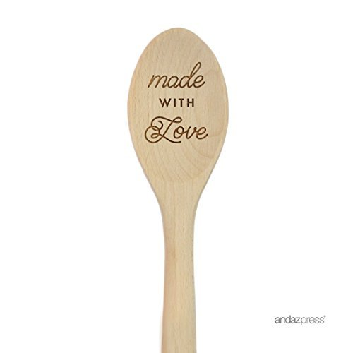 Engraved Wooden Spoon Craft Small Made With Love Good Grips Oven Wooden Mixing Spoon Renewable Cooking All Natural Healthy Spoon Christmas Cooking Baking Gifts