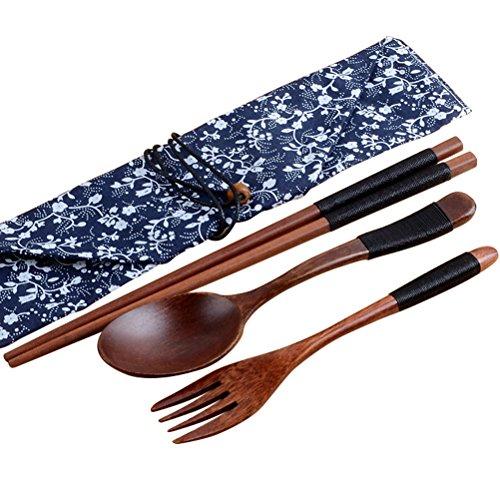 Wooden Spoon Fork SetBagvhandbagro Lunch Tableware Spoon Fork Chopsticks SetThree-piece Set Japanese Style906inch