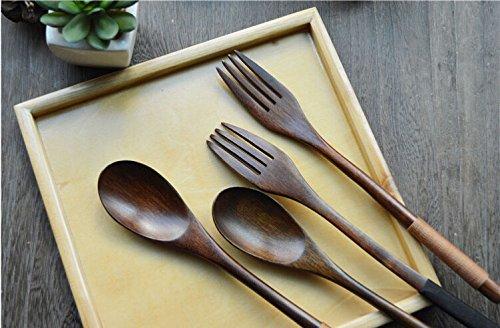 Wooden Spoon Fork Set Vintage Honey Spoon Japanese Tableware Long Handled Spoon