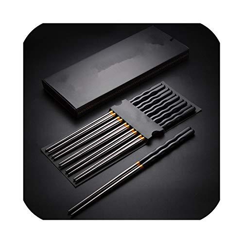 1 Pair Chopstick Reusable China Chopsticks Black Silver Alloy Chinese Chopsticks Set Household Dinnerware Cutlery Chopsticks From Home GardenBlack
