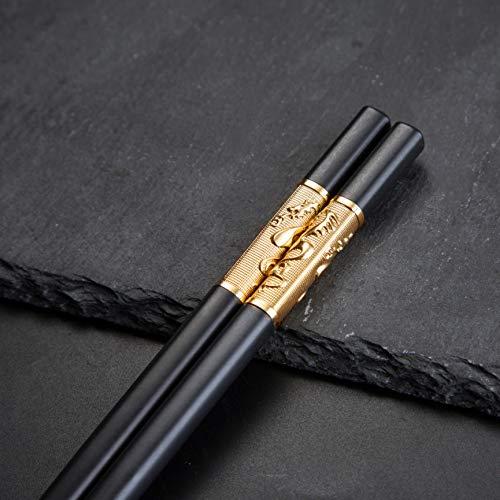 YOUDA 5-Pairs Fiberglass Dishwasher-Safe Chopsticks Premium Chinese Dragon Chopsticks Set Reusable Classic Style