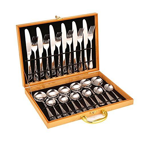 Flatware Set Stainless Steel Western Tableware 24 Piece Silverware Set Tableware Dinnerware Set Steak Knife Fork Spoon Cutlery Set