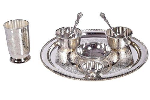 Rustik Craft Brass Stainless Steel Traditional Dinner Set Of Plate Bowl Folk Spoon Cutlery Set