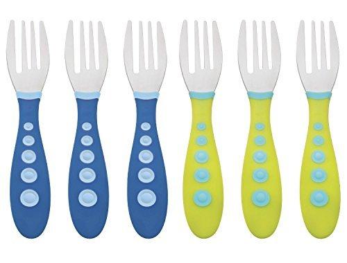 Gerber Stainless Steel Tip Kiddy Cutlery Forks - 6 Pack BlueGreen