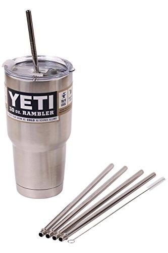 4 Bend Stainless Steel Straws Extra LONG fits 30 oz 20 oz Yeti Tumbler Rambler Cups - CocoStraw Brand Drinking Straw 4 WIDE straws  Straw Lid