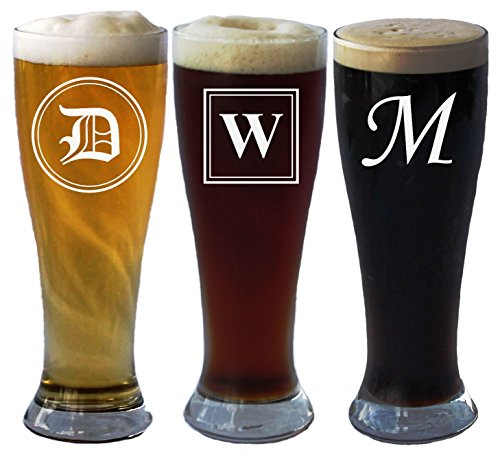 Engraved Personalized Pilsner Beer Glass with Initial 16 Oz - Wedding Party Groomsmen Fathers Day Gifts - Custom Monogrammed Drinkware Glassware Barware Etched for Free