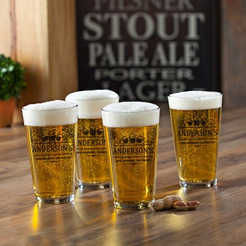 Personalized Beer Glass Set of 4 - 3 Beers Design - Personalized Pint Glass Set