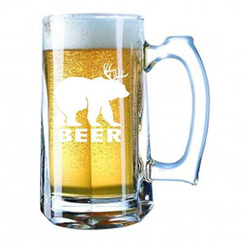 Giant Beer Mug 28 Ounces Personalized Beer Stein - Beer Deer Bear Sunny Mac Funny TV Pong Always