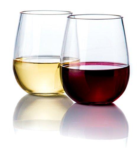 Elegant Stemless Plastic Wine Glasses by Savona  Unbreakable Wine Glasses  Ideal for IndoorOutdoor Use  Dishwasher Safe  100 Tritan Shatterproof Wine Glasses  Set of 2