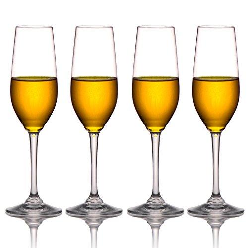 MICHLEY Unbreakable Champagne Flutes Glasses 100 Tritan Plastic Wine Glasses BPA-free Dishwasher-safe 8 oz Set of 4