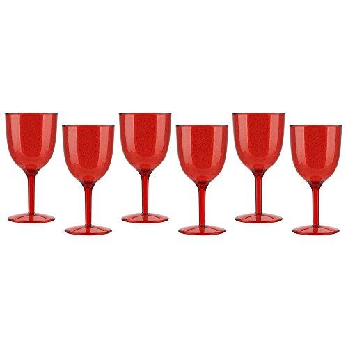 Zak Designs 0078-0530-ISET Spritz Plastic Wine Glass Red