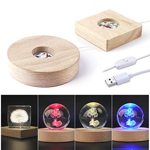 LED Lights Display Base LETS RESIN 2PCS Wooden Lighted Base Stand for Laser Crystal Glass Resin Art