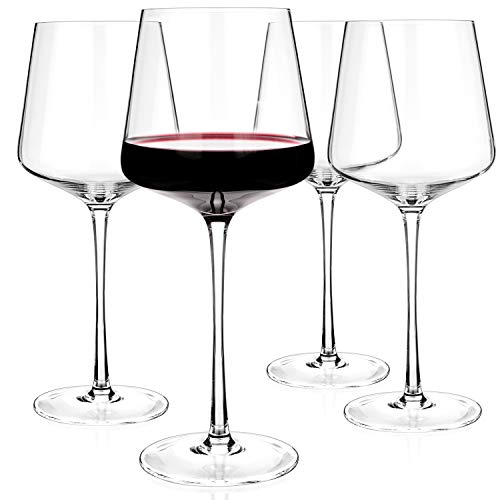 Luxbe - Crystal Wine Glasses 205-ounce Set of 4 - Red or White Wine Large Glasses - 100 Lead Free Glass - Pinot Noir - Burgundy - Bordeaux - 600ml