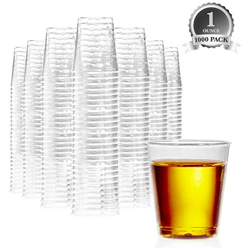 1000 Plastic Shot Glasses - 1 Oz Disposable Cups - 1 Ounce Shot Glasses - Small Party Cups Ideal for Whiskey Wine Tasting Food Samples and Condiments Clear