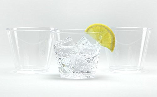 Hard Plastic Tumblers 9 oz Party Cups-Old Fashioned Glass 100 Count Drinking Glasses Crystal Clear