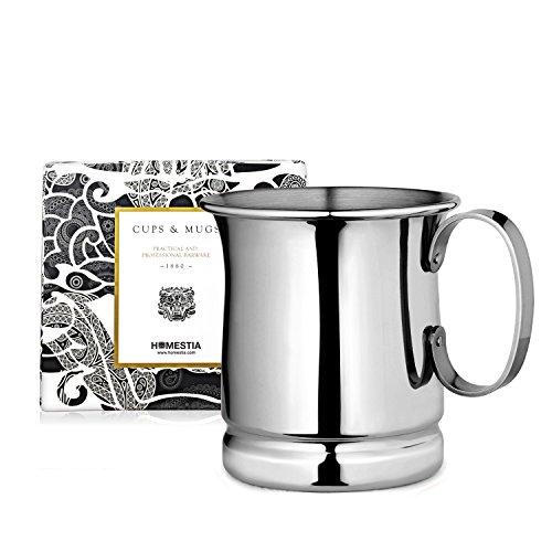 Homestia Handmade Tankard Beer Mug Stainless Steel Cocktail Beer Drinking Mug Beverage Stein 1285oz Pack of 4 Silver