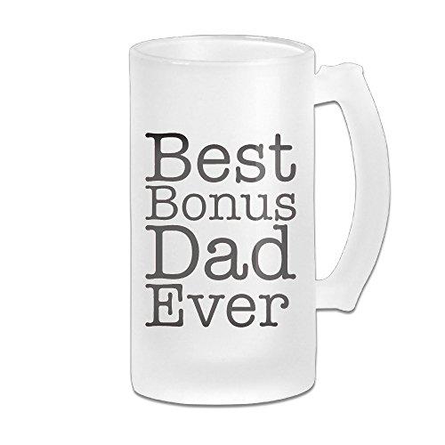 Baerg Best Bonus Dad Ever Adult Beautiful Frosted Glass Beer Mug For BeerWaterTeaCoffee