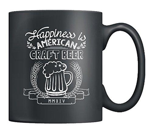 Craft Beer Coffee Mug - Happiness Is Craft Beer Mug Ceramic Tea Cup 11 Oz Black Men And Women Craft Beer Mugs Black