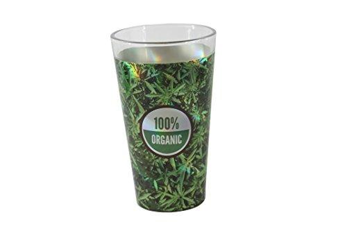 TMD Holdings Weed Leaf 100 Organic Pint Drinking Glass 16 fl oz Green