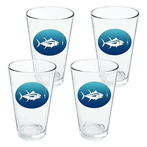 Tuna Fish Fishing Fisherman Novelty 16oz Pint Drinking Glass Tempered - Set of 4