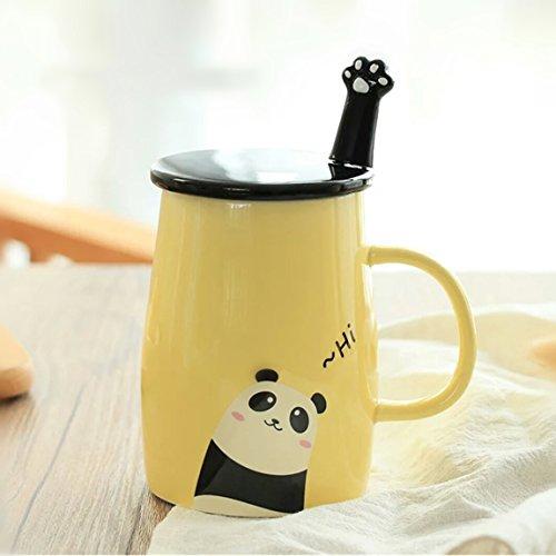 Angelice Home Yellow Cute Panda Mug with Creative Stainless Steel Spoon for Panda Lovers Coffee Lovers