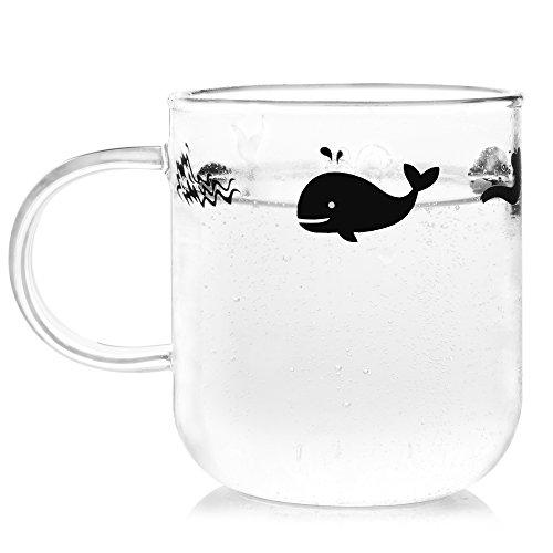 ELITEA Glass Mug with Handle Clear Cute Coffee Mugs Tea Cup with Whale Print 122oz