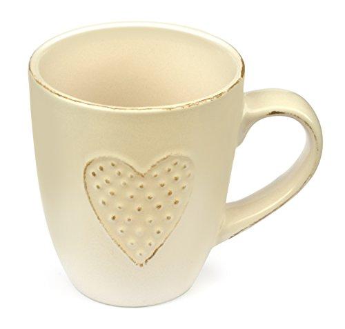 Heart Mug Love by Govinda Crafts Ceramic Coffee Mug 10oz Tea Cup Cute Mugs for Women Wife Lover Girlfriend or Mom beige