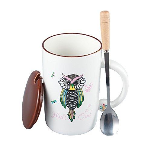 Neolith Cute Owl Coffee Mug with Lid and Spoon 12 oz Luna