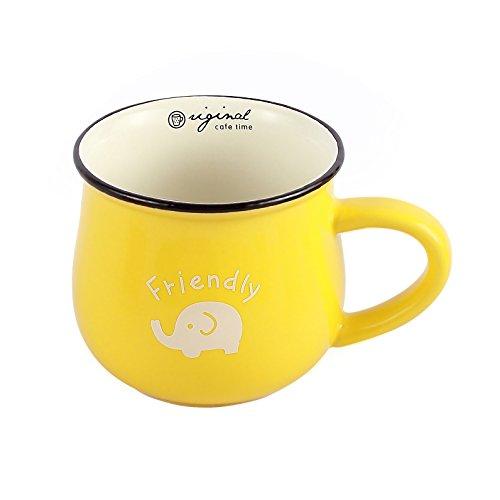 Neolith Yellow Mug with Random Animal Pattern Gift Boxed Cute Novelty Coffee Mug Mug Cup for Tea Funny Coffee Mugs Sarcasm for Women Men Mom Guys Dad Cute Lovely Milk Mug 12 oz Yellow