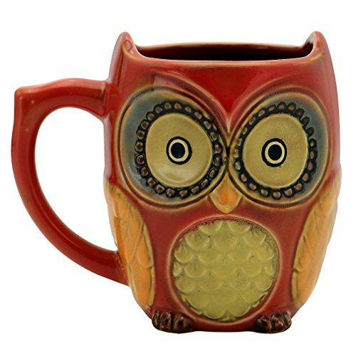 Teagas Cute Owl Mug 12 oz - Red Cute Owl Morning Coffee Ceramic Mug