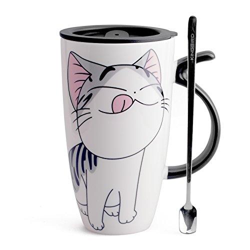 Neolith Cute Cat Style Ceramic Mugs with Lid Spoon Cartoon Creative Morning Mug Milk Coffee Tea Unique Porcelain Cups Gifts Box Large Mugs 20 oz Yammy