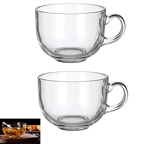 Set of 2 Large 16oz Glass Wide Mouth Coffee Mug- Dishwasher Microwave Safe