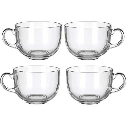 Set of 4 Large 16oz Glass Wide Mouth Coffee Mug- Dishwasher Microwave Safe
