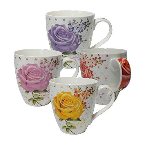 Set of Four 4 Assorted Roses Design 16 oz Coffee Mugs IG13381 A-to-Z Deals