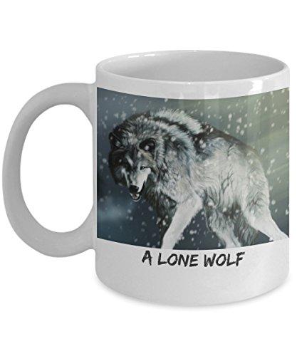 Novelty mug design - A Lone Wolf - Fancy coffee mug gifts - Best wolf mug ever - Mug for collection - Mug for hunting - Mug for coolest guys - Mug for