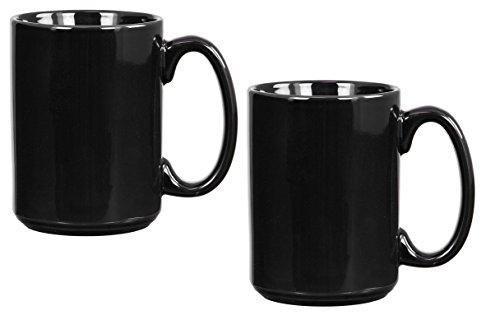 El Grande Style Large Ceramic Coffee Mug With Big Handle Black 15 oz Pack of 2