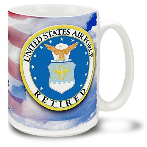 Retired United States Air Force Crest on American Flag CUSTOMIZABLE USAF - 15 oz Large Ceramic Coffee Mug VIVID FULL-COLOR