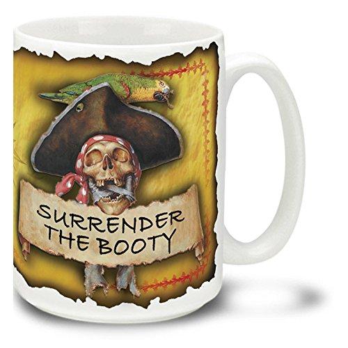 Surrender the Booty Skull and Crossbones Pirate - 15 oz Large Ceramic Coffee Mug