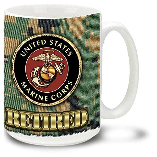 US Marine Corps RETIRED Crest on MCU Camo Mug USMC Made in USA - 15 oz Large Ceramic Coffee Mug
