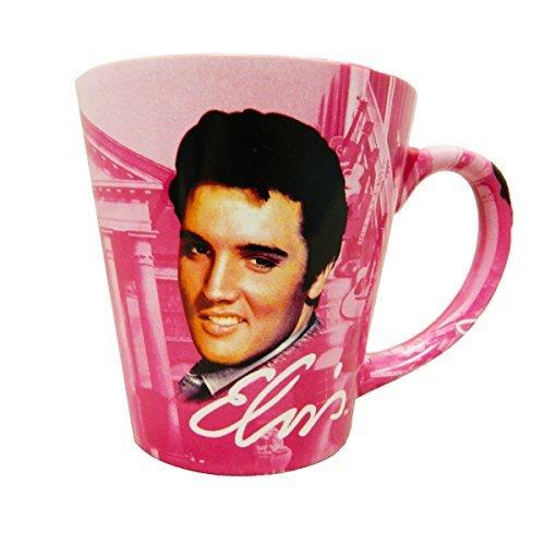 Elvis Presley The King Graceland Pink wGuitars Ceramic Latte Coffee Mug