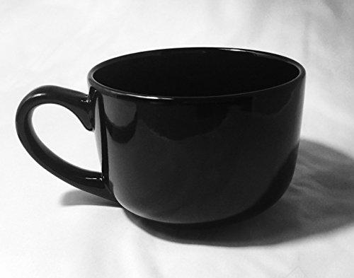 Extra Large Jumbo Latte Coffee Mug Or Soup Bowl With Handle 22 Oz - Black