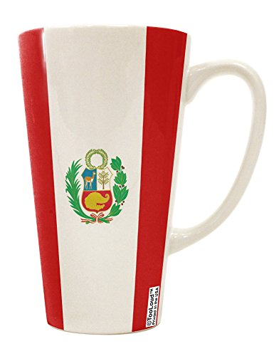TooLoud Peru Flag AOP 16 Ounce Conical Latte Coffee Mug All Over Print